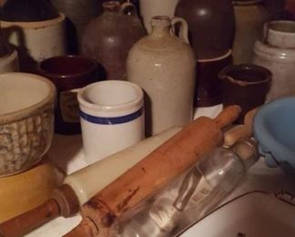 Rolling pins and pottery jugs