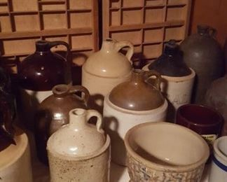 Printer's trays, crock jugs, and Red Wing spongeware bowl