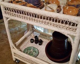 Wicker teacart