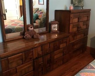 Dresser with Double mirrors and  matching chest of drawers