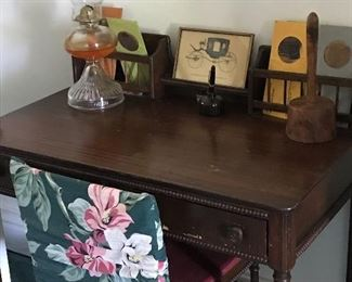 Ladies desk and chair with bead detail
