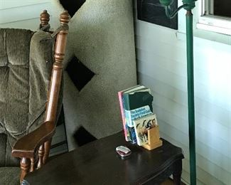 Retro green lamp, side table.