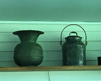 Collectibles, including spittoon and crocks