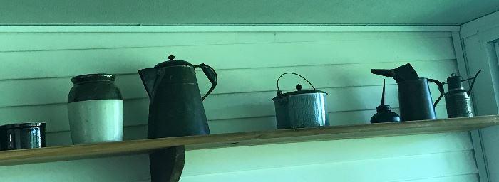 Crocks, coffee pot, oil cans