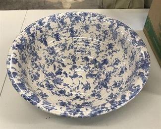 Bybee extra large blue splatter bowl