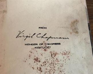 Signed by congressman Virgil Chapman 1940