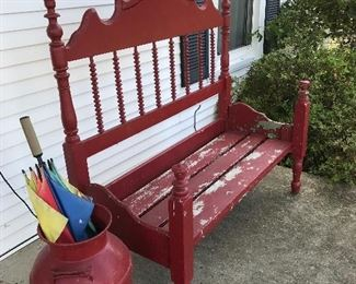 Nice bench and milk can