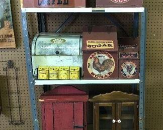 Vintage canister sets, spice sets, & cabinets
