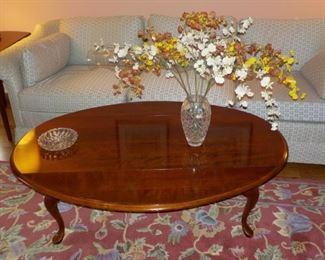 Coffee table, area rug