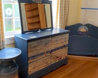 HAND PAINTED BEDROOM SET. TWIN BED HEADBOARD, DRESSER, SIDE TABLE, MIRROR AND FRAME $300.00 EXCELLENT CONDITION