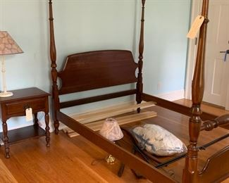 CHERRY FULL SIZE CHERRY FOUR POSTER BED WITH OPTIONAL CANOPY. PERFECT CONDITION $275.  MATCHING CHERRY NIGHT STAND $65.00