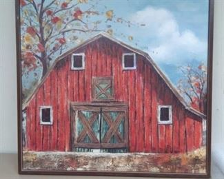 Framed XL Painting of Barn in Autumn