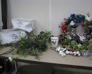 Baskets, Greenery and July 4 Wreath