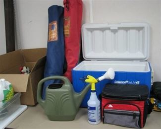 Outdoor Lot - Coleman Ice Chest, Two Bag Chairs, Watering Can…