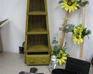 Home Décor Shelf w/ Drawer, Cross, Sunflowers Ladder…