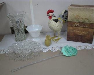 Large Cut Glass Pitcher, Milk Glass Dish, Chicken Décor…
