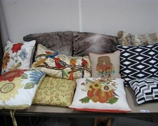 Throw Pillows Lot - Fur Covered, Pier 1…