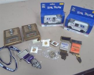 USPS Collectibles, Pins, PO Box Doors, Toy Trucks