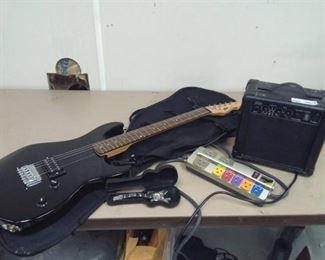 Peavey Electric Guitar and Amp, Power Strip and Gibson Watch and Case