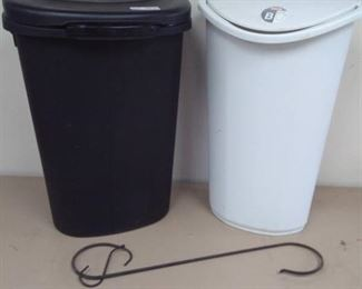 Two Plastic Lidded Trash Cans and S-Hooks