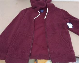 Arizona Jean Co. Burgundy Sherpa Lined Hooded Jacket Sz L