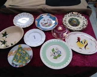 Collectible / Vintage Plates and Bowls Lot - Cock of the Walk Platter, Wedgewood Corinthian, Leeds, Ivy, Limoges, Germany