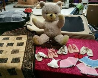 Vintage Bear and Doll / Baby shoes/Clothes Lot