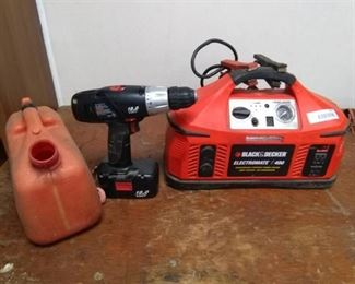 B&D Electromate 400 Rechargeable Portable Power Station, Gas Can and Craftsman Cordless Drill