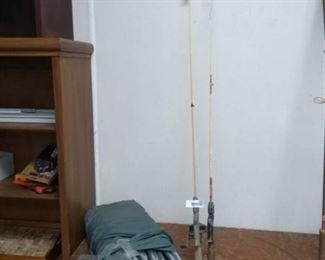 Bag full of Tent Poles, WonderGlass Fishing Rod, Johnson 088 Fishing Reel and Rod & Other Fishing Rods