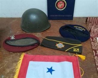 Marines Book, Flag, Service Hats and Helmet Liner