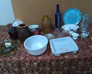 1957 Calendar Plate, Porcelain Pans, Crocks, Glassware