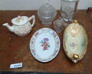 Lidded Glass Dishes, Teapot, Schumann Bavaria Bowl and Anchor Hocking Abingdon Bowl