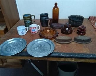Saad Irons, Pewter Plates, Coin Glass Ashtray