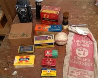 Reflex Camera with Flash attachement and Bulb, Ammunition Boxes / Bags