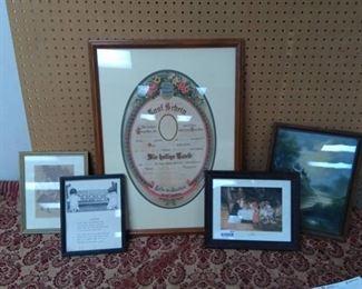 Framed Vintage Prints and German Framed Announcement