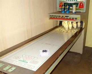 1950's United Mfg. Shuffle Bowling Game in working order $650. This item is available for pre-sale.  Serious inquiries may contact us at 331-717-6797