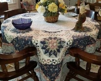 Dark Pine Round Dining Table w/4 Chairs/Hutch/Dry Sink