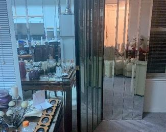 Vintage Hollywood Regency Mid Century Modern 3 panel Mirrored Floor Screen. Rumored to be from the Estate of Zsa Zsa Gabor  $550  -OBO Available for  presale purchase