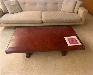 """Red Laquer Accent Table 1980""""s Furniture - $400 -OBO Available for  presale purchase"""