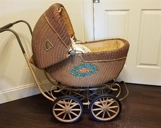 Vintage wicker full size baby stroller, good condition.