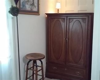 Armoire and Old Barstool