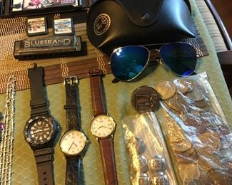 Watches, Rayban's w/ case And a bag o' random coins