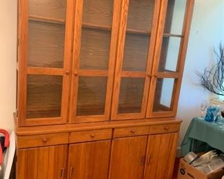 #1 2 piece oak china cabinet with 4 glass doors 2 drawers 4 doors, 61x18x29-80  $ 175.00