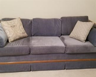 """Sofa Bed Blue Velvet Type Fabric with Wood. Very Clean $75   79"""" long with 35"""" depth Pulls out into a Queen size bed"""