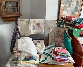 Vintage table cloths, doilies and needlepoint linens