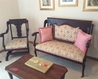 Antique Love Seat and Rocking Chair.