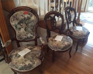 Antique parlor chairs.