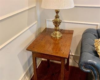 """18th century oak table on square legs with """"x"""" stretchers, c. 1780"""