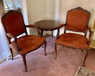 Vintage arm chairs and with Karges side table