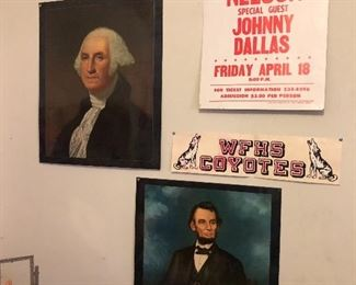 Vintage School President Portraits and Panther Hall presenting Willie Nelson poster (photo by BC)